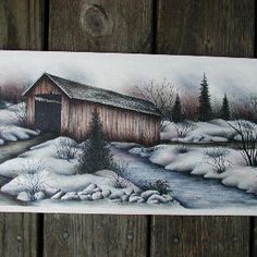 Covered Bridge One Stroke Painting, Tole Painting, Painting & Drawing, Watercolor Pencil Art, Valentines Day Coloring Page, Bridge Painting, Arte Country, Barn Art, Country Paintings
