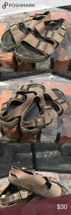 Birkenstock sandals size 37 Birkenstock sandals size 37.  Well loved sandals.  Some wear shown in photos.  Adjustable straps. Birkenstock Shoes Sandals