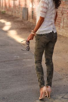 Lace shirt, camo pants & nude heels