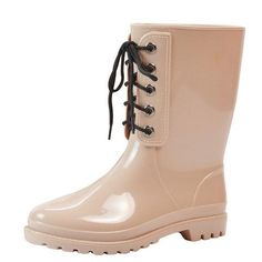 HEE GRAND Lace-Up Rain Boots High Quality Women Mid-Calf Boots Platform  Rubber 6402ddc10ed6