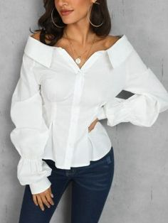 Camila is a pretty white blouse with bare shoulders. Its sleeves are puffy for a… Camila is a pretty white blouse with bare shoulders. Its sleeves are puffy for a casual chic look. Blouse buttons on the front Material: Polyester… Continue Reading → Fall Fashion Trends, Autumn Fashion, Fashion Ideas, Casual Chic, Fashion Magazin, Mode Costume, Fall Shirts, Denim Shirts, Fashion Outfits