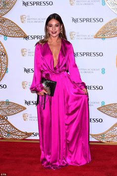 Chic: Louise subtly showed off her svelte frame in the floor-sweeping number, which featured opulent bell sleeved and tie-belt to cinch in her tiny waist Nespresso, Louise Thompson, Fuchsia Dress, Made In Chelsea, Tiny Waist, Red Carpet Fashion, Outfit Of The Day, Bell Sleeves, Celebrity Style