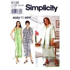 Womens Dress and Jacket Pattern Simplicity 9135 Oversize Shirt Contrast Band Plus Size 26 to 32 - product images  of