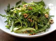 Asparagus Ribbon Salad  with Honey Lemon Dressing by mynewroots via marathastewart: Asparagus is a powerhouse vegetable, another reason why eating it raw is such a good idea! Its high amounts of vitamin C, carotene, and selenium protect against cancer. Asparagus also contains high amounts of histones, folic acid, and nucleic acid, all of which stimulate the immune system. #Salad #Asparagus