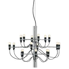 FLOS Lighting Chandelier by Gino Sarfatti - - Color: Chrome / Glossy Circular Chandelier, Chandelier Lighting, Led Technology, Visual Comfort, Chrome Finish, Modern Lighting, Modern Design, Bulb, Ceiling Lights