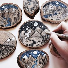 A series of Wood Cut Illustration done on natural wood, featuring landscapes. Mo… A series of Wood Cut Illustration done on natural wood, featuring landscapes. Mostly done with pen, ink, gouache and acrylics. Wood Slice Crafts, Wood Burning Crafts, Wood Burning Patterns, Wood Burning Art, Wood Crafts, Wood Circles, Wood Ornaments, Wood Slices, Pyrography