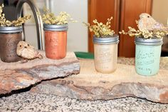 Tammy H's discussion on Hometalk. Painted Fall Mason Jars - Mason jars painted with metallic paints.