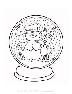 Sneeuwbol kerst kleurplaat coloring christmas