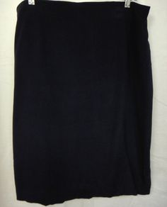Josephine Chaus Classic Modest 100% Short Silk Pencil Skirt Ink Blue Lined Sz 16 #JosephineChauys #Pencil #Silk #Fashion #Designer #Casual #Comfort #Business