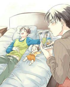 Eren, child, sleeping, Levi, picture, phone, cute, blushing, yaoi, EreRi, RiRen; Attack on Titan