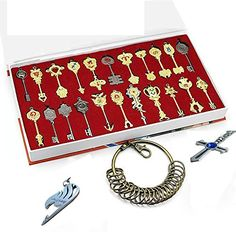 Rulercosplay Fairy Tail Lucy New Collection Set of 22 Golden Zodiac Keys + Chain Rulercosplay http://www.amazon.com/dp/B00H38ASWC/ref=cm_sw_r_pi_dp_cnwEub19Q48ZA