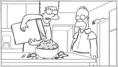 """Storyboard from the """"Homer Goes To Prep School"""" episode of THE SIMPSONS. Homer And Marge, Family Tv, Prep School, The Simpsons, Storyboard, Fun Stuff, Future, Comics, Art"""
