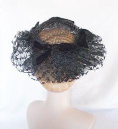 50's 60's Vintage Black Lace Wide Brim Hat by MyVintageHatShop, $41.00