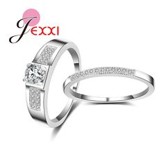 JEXXI Exquisite Jewelry 925 Sterling Silver Ring Set Women Wedding Anniversary Jewelry Cute Tiny CZ Accessories #Affiliate