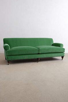 Velvet Willoughby Sofa, Hickory - anthropologie.com