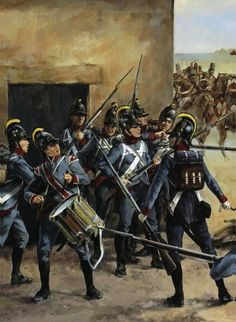 Bavarian infantry in the streets of Casteggio, Marengo - by Christa Hook