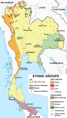 An ethnological map of Thailand (1974).