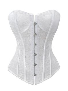 88671fbb19d Chicastic Lace Bridal Sexy Strong Boned Overbust Corset Lace Up Bustier at  Amazon Women s Clothing store  White Lace Corset
