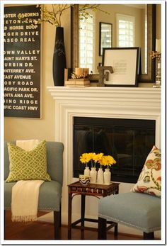 Flexible mantle plan - mirror backdrop is neutral - can change up flowers in vase, candle colour and small art to suit the season