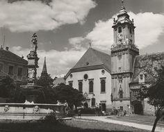 Pavol Poljak - Socha a veža (Hlavné námestie v Bratislave) Bratislava, Homeland, Notre Dame, Barcelona Cathedral, Building, Photography, Travel, Times, Vintage