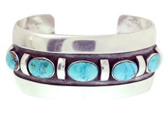 Julian Lovato, Bracelet, Lone Mountain Turquoise, Collectors, Circa 1960s #PerryNullTradingCompany