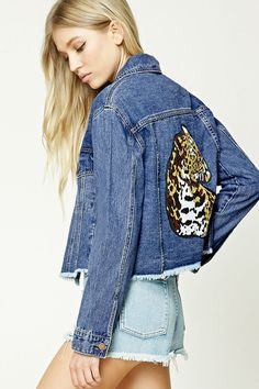 Cheetah cropped denim coat, love.