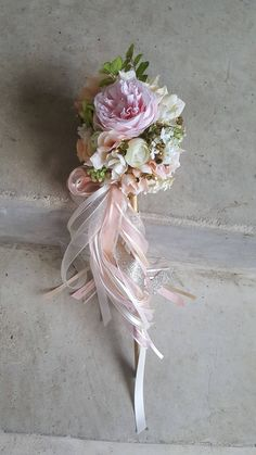 Custom Order for ONE Flower Girl Pom Wand Ivory Blush Pink Champagne by KAArtisticEvents on Etsy