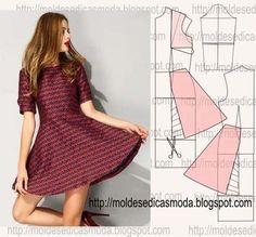 Moldes Moda por Medida dress with sleeves pattern Sewing Dress, Diy Dress, Sewing Clothes, Diy Clothing, Clothing Patterns, Dress Patterns, Sewing Patterns, Fashion Sewing, Diy Fashion