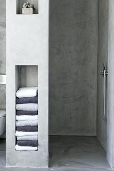 Towel Storage Built In The Wall Next To Showerbuilt Bedroom  Bathroom