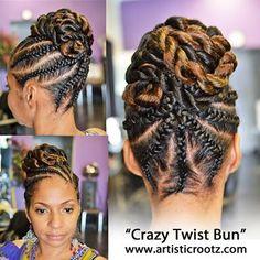 coiffure avec des cheveux naturels en vanilles collées (Flat Twist)
