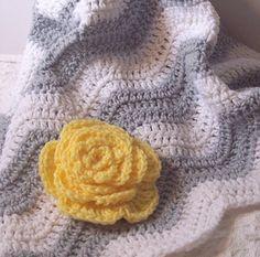 Gray & White Chevron Baby Blanket w/ yellow flower