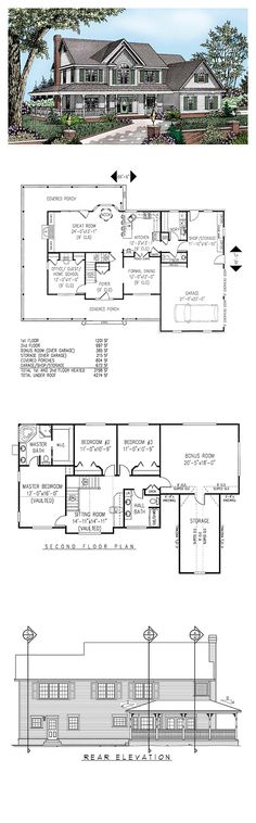 Farmhouse Style COOL House Plan ID: chp-18141   Total Living Area: 2198 sq. ft., 4 bedrooms & 2.5 bathrooms. #houseplan #farmhouse