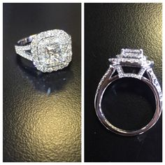 Beautiful engagement ring with a princess cut diamond center stone, split shank and double halo, diamonds everywhere.