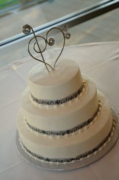 Musical Heart Cake Topper Treble Clef and Bass Music Lover Wedding. $40.00, via Etsy.