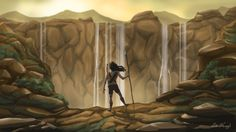 Imaginary Art Work :) A warrior girl looking at the falls from the edge of other mountain :)