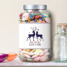Personalised Loving Reindeers Sweet Shop Jar