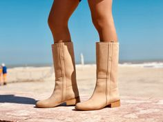 Stivali Donna Camperos Alti Western WildGirl Pelle Nabuk Beige Bohemian Boots, Cowboy Boots, Riding Boots, Booty, Beige, Ankle, Shopping, Shoes, Fashion