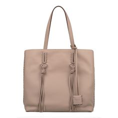 Beige Gipsy Medium Leather Tote ($895) ❤ liked on Polyvore featuring bags, handbags, tote bags, neutral, brown tote, brown leather tote bag, leather fringe purse, leather tote bags and leather key ring