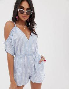 dff74a0e6ea Accesorize cold shoulder embroidered beach playsuit in blue