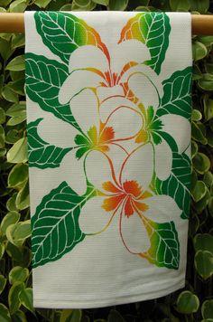 Hawaiian Plumeria Kitchen Towel by HibiscusTextiles on Etsy, $14.00