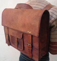 """16 """" leather Backpack bag School/College Handmade leather messenger bag/shoulder bag/satchel"""