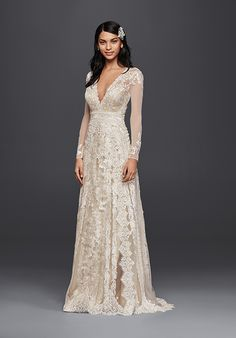 Tulle Long-Sleeve Sheath Wedding Dress | Style MS251173 by David's Bridal  http://trib.al/Oj4ydGj