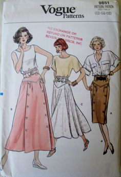 Vogue 9851 Women's 80s A Line or Flared Skirt Sewing Pattern Size 12 14 16 or Hip 36 38 40 by Denisecraft on Etsy