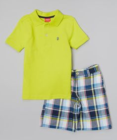 Loving this IZOD Lemon Lime Polo & Blue Plaid Shorts - Toddler & Boys on #zulily! #zulilyfinds