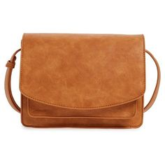 Women's Sole Society 'Michelle' Faux Leather Crossbody Bag ($50) ❤ liked on Polyvore featuring bags, handbags, shoulder bags, cognac, cognac handbag, crossbody handbag, crossbody purse, vegan purses and cognac purse