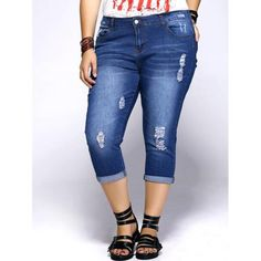 Chic Plus Size Distressed Frayed Women's Capri Jeans