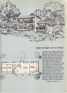 Vintage House Plans, Passive Solar Plan No. Passive Solar Homes, Passive House, Vintage House Plans, Modern House Plans, Sunken Living Room, Solar House, Eco Friendly House, Mid Century House, Architecture