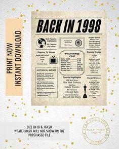 1973 Newspaper Poster, Birthday Poster Printable, Time Capsule T – The year you were born store Husband 30th Birthday, 50th Birthday, Birthday Gifts, Birthday Woman, Birthday Celebration, Birthday Wishes, Nintendo 64, Justine Ezarik, Most Popular Tv Shows