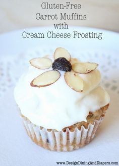 Carrot Muffins with Cream Cheese Frosting from designdininganddiapers.com…