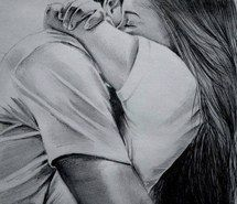 sketch of boy and girl hugging - Google Search